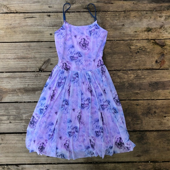 169281df816 Purple floral lined dress w a full skirt